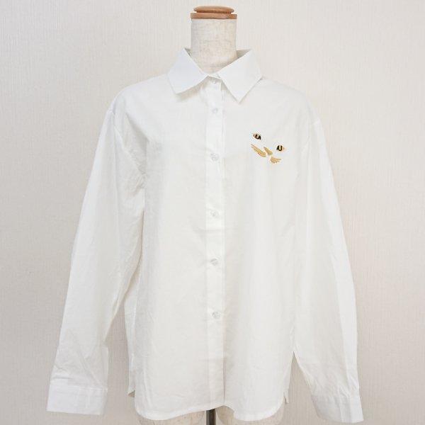 猫刺繍長袖シャツ