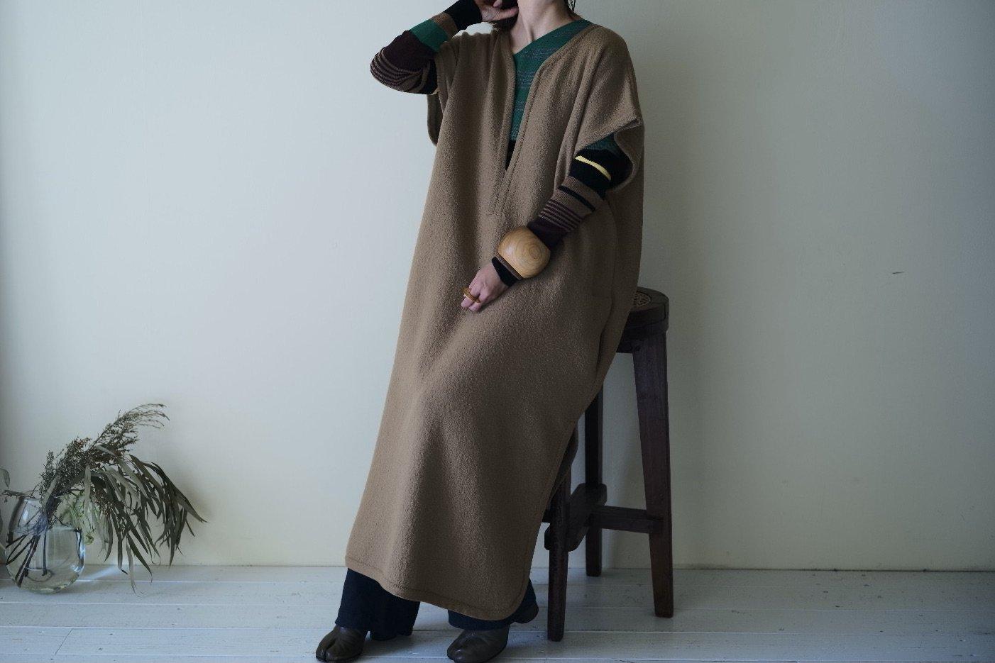 Cristaseya Felted Wool Caftan Dress(-5cm Shorter )