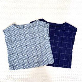 リンドブラウス 材料キット(チェック柄2色・綿ポリサッカー)
