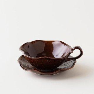 蓮の葉カップ&ソーサー(茶)[ハスノハカップアンドソーサー(チャ)]