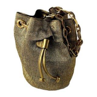 Salvatore Ferragamo<BR> フェラガモ  キャンバス ヴァラチェーン 巾着ハンドバッグ