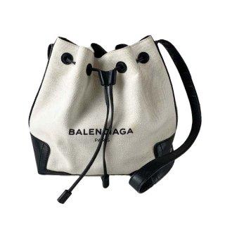 BALENCIAGA <BR> バレンシアガ ネイビーバケット巾着ショルダーバッグ