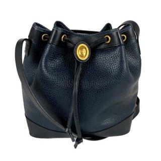 Dior<BR> ディオール レザー 巾着ショルダーバッグ