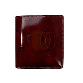 Cartier<BR> カルティエ ハッピーバースデー カーフ 二つ折り長財布 ボルドー