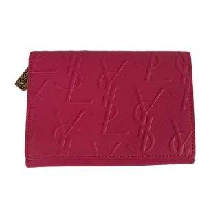 Saint Laurent <BR> イヴサンローラン 型押しレザー 二つ折り財布