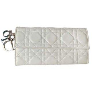Dior<BR> ディオール  レディディオール ラムスキン 二つ折り長財布