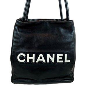 CHANEL<BR> シャネル カメリア ココマーク ロゴ ラムスキン ショルダーバッグ