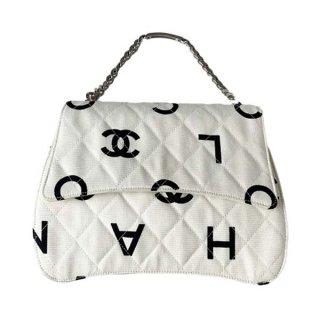 CHANEL<BR> シャネル パターンココマークロゴプレートチェーンハンドバッグ
