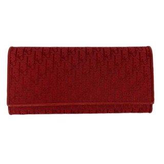 Dior<BR> ディオール トロッター柄 キャンバス/レザー 二つ折り長財布