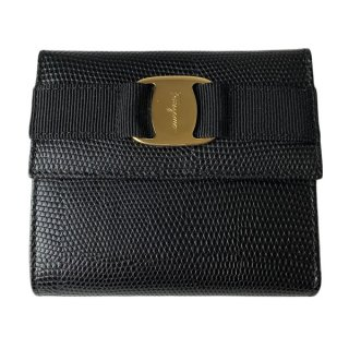 Salvatore Ferragamo<BR> フェラガモ ヴァラ 型押しリザード がま口財布