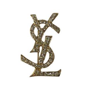 Saint Laurent <BR> イヴサンローラン ロゴ ラインストーン ブローチ