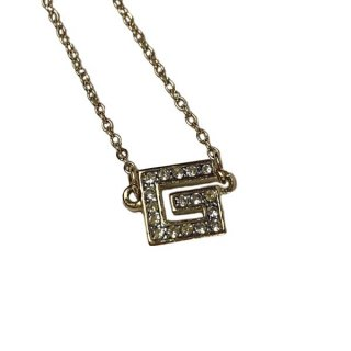GIVENCHY<BR>ジバンシー Gロゴ ラインストーン ネックレス