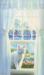 白い猫のいる窓辺