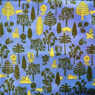 赤ずきんの森青色 USAカット布100cm