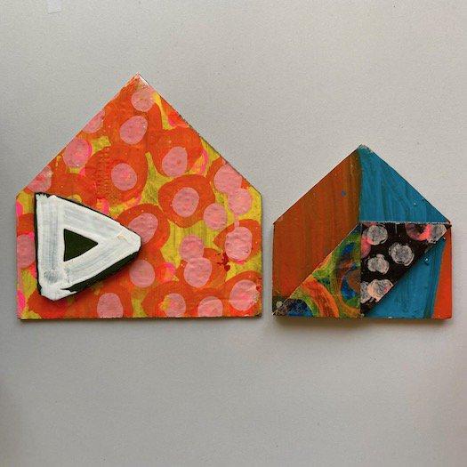 家ポストカード (小) 03【3種類】<br>(約14cm × 14 cm)※一点もの