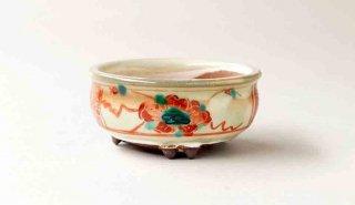 月山 赤絵丸鉢