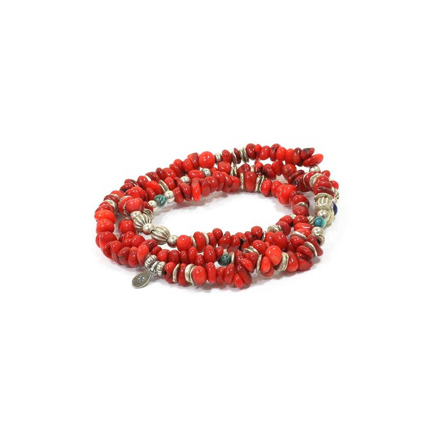 AMP JAPAN 16AHK-453 Tumble Stone Bracelet -Red-