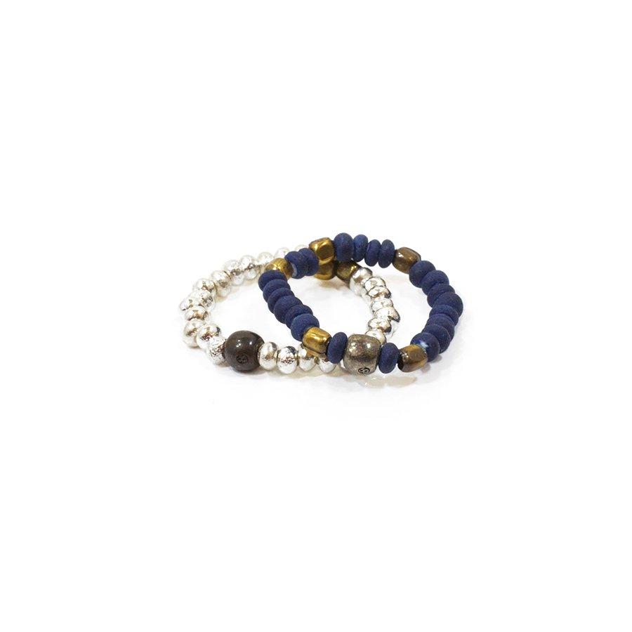 Sunku SK-031 Indigo & Silver Beads Ring