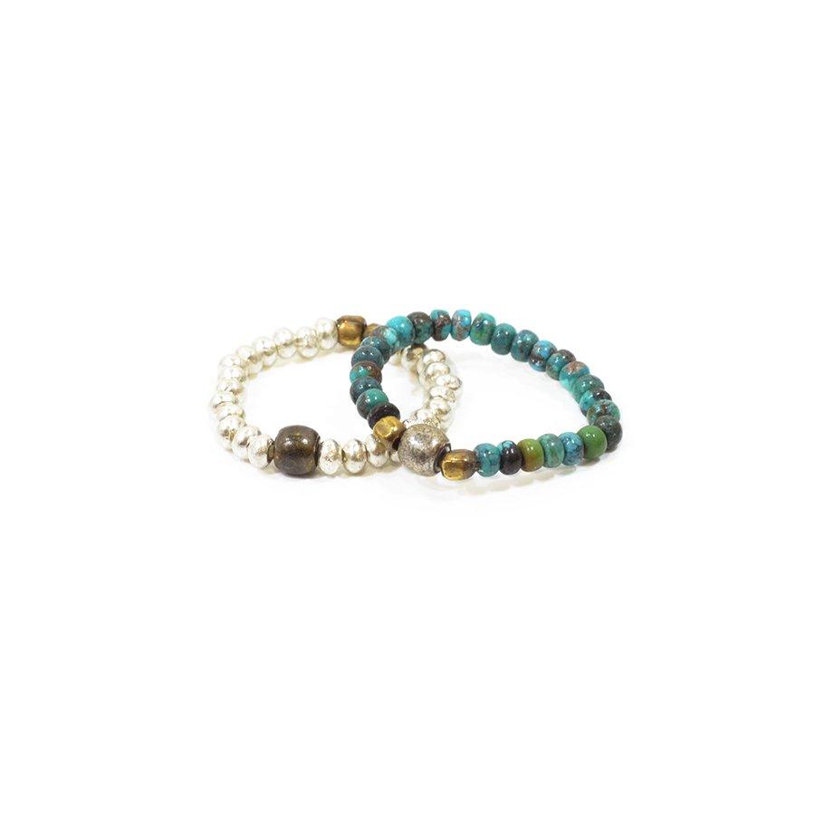 Sunku SK-031 TUQ Turquise & Silver Beads Ring