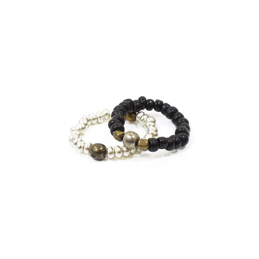 Sunku SK-031 BLK Antique Beads & Silver Beads Ring