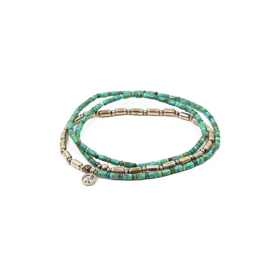 Sunku SK-085 Silver & Turquoise Beads Long