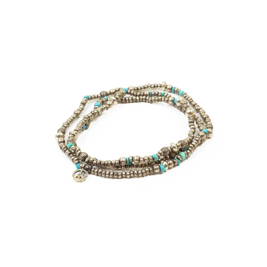 Sunku SK-084 Silver & Turquoise Beads Long