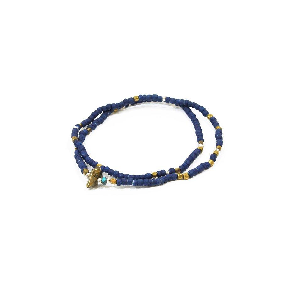 Sunku SK-025 Indigo Dye Beads Anklet & Necklace