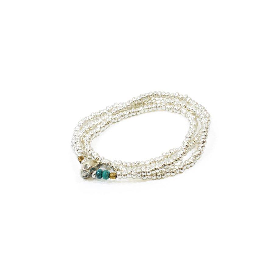 Sunku SK-006 Silver Beads Necklace & Bracelet