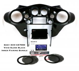 ソニーXAV-AX7000カープレイ  ハーレー用モジュール付き&インナーフェアリングセット ストリートグライド 99〜2013