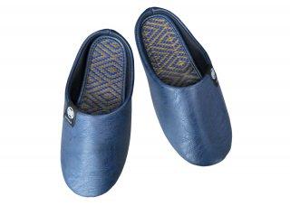 Igusa Tatami Slipper|BL×BR <br>無染土い草スリッパ|ブルー×ブラウン