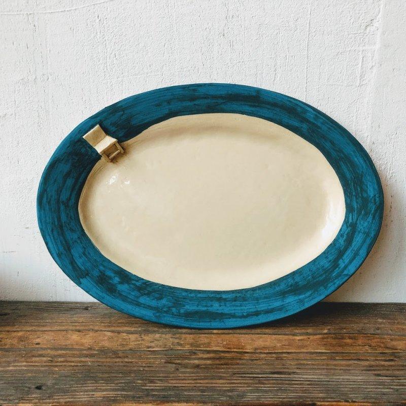 青と椅子のオーバル皿