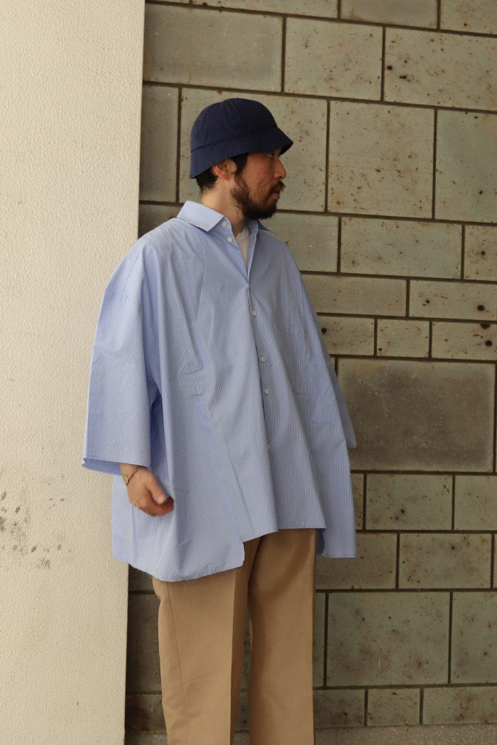 camiel fortgens【11.11.06 RESEARCH DOUBLE SHIRT SHIRT / Blue×white stripe】
