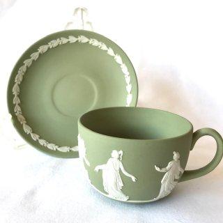 ウェッジウッド ジャスパー ティーカップ&ソーサー (グリーン)