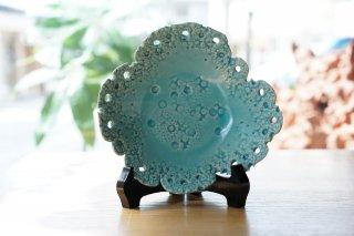 山上學(螢窯)珊瑚変形皿 �