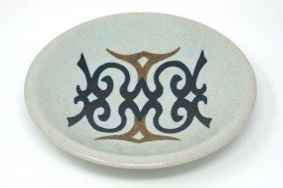 釉象嵌アイヌ紋皿