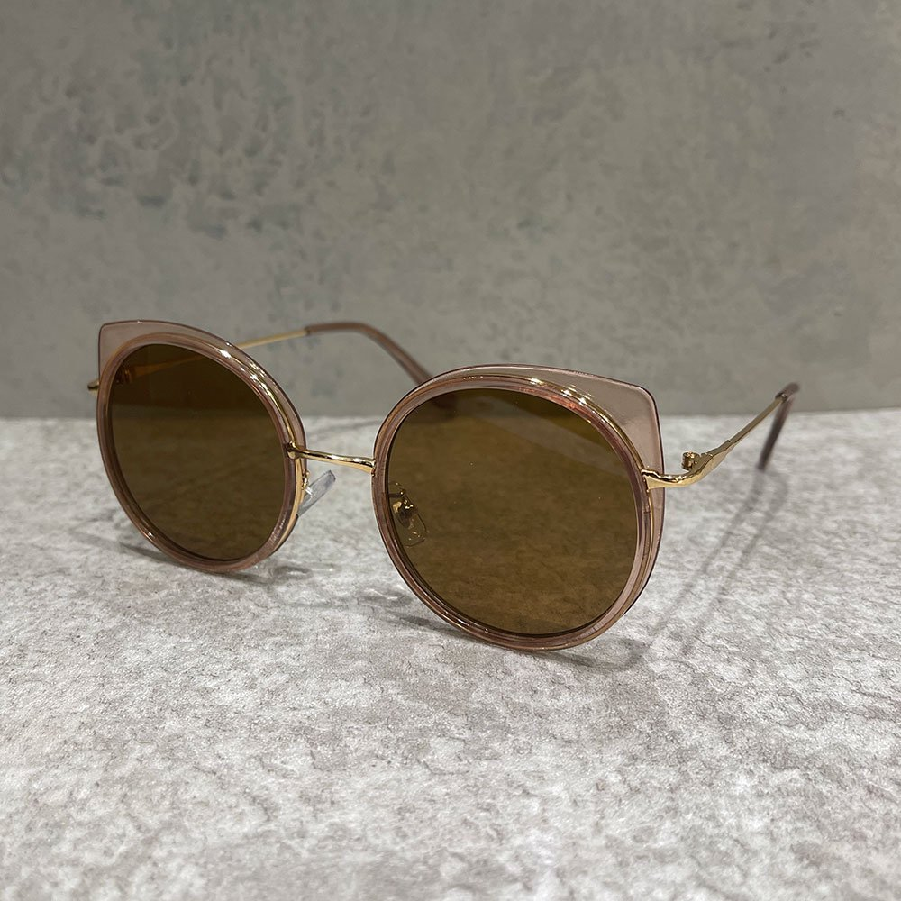 SUS by. SUSPEREAL/  ROUND SUNGLASS (BROWN/GOLD)