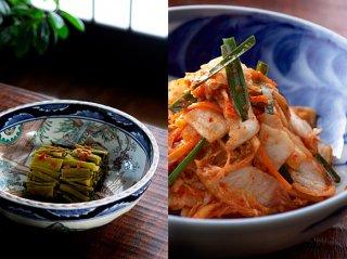 阿蘇たかな本漬・白菜キムチのセット 生タイプ 120gx5束、白菜キムチ500gx2