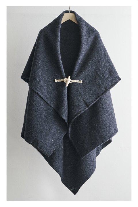 Shetland Wool Plain Blanket Poncho