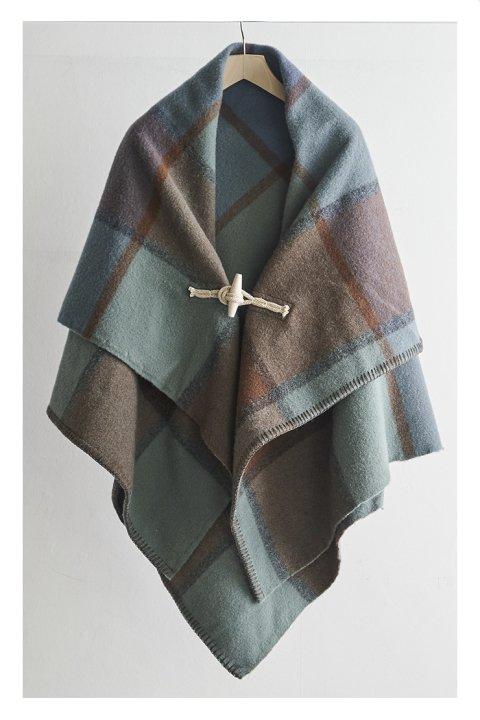 Shetland Wool Check Blanket Poncho