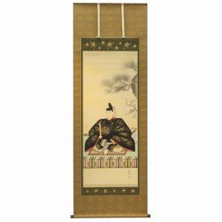 天神様 掛け軸 「中村岳陽」 尺八立 本金襴