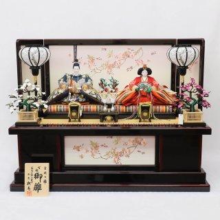 雛人形 小出松寿作 京7番 金彩京刺繍 紺地に古代鏡