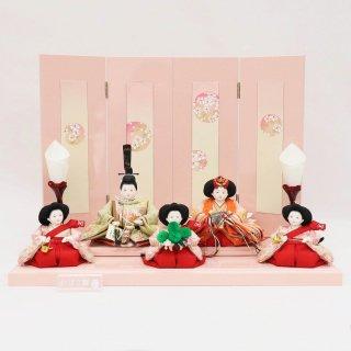 雛人形 小出松寿作 三寸おぼこ五人飾り 京刺繍花尽くし