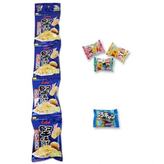 4P(内1)堅あげポテト  /  プーさんいちごチョコマシュマロ(1個)  /  コロキャン(ソーダ)(1個)  【学】