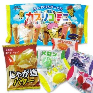 ポテトフライ(じゃが塩バター)  /  大袋カプリコミニ(1個)  /  あべっ子ラムネ(1個) 【学】
