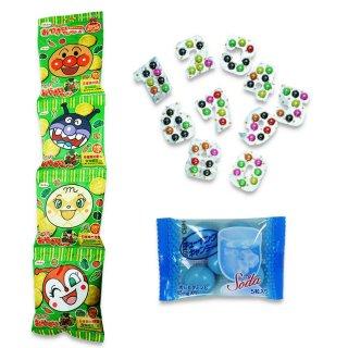 4P(内1)アンパンマンおやさいせんべい  /  ウイットナンバーチョコ(1個)  /  チューイングキャンディ(ソーダ)(1個) 【学】