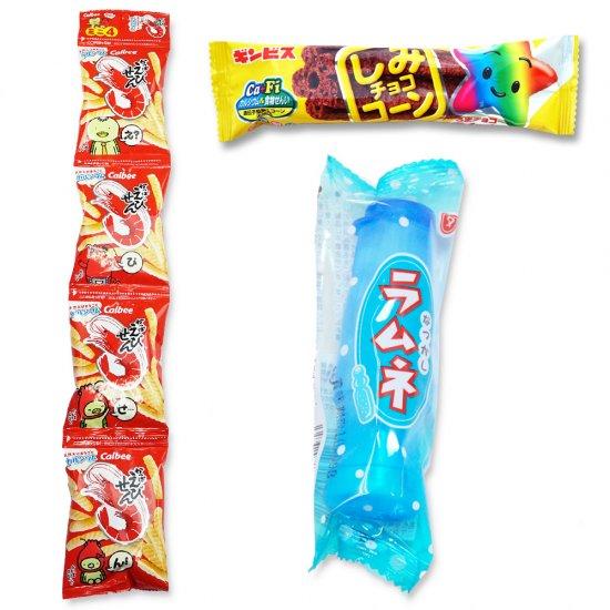 4P(内1)かっぱえびせん  /  しみチョココーン(1個)  /  なつかしラムネ(1個)