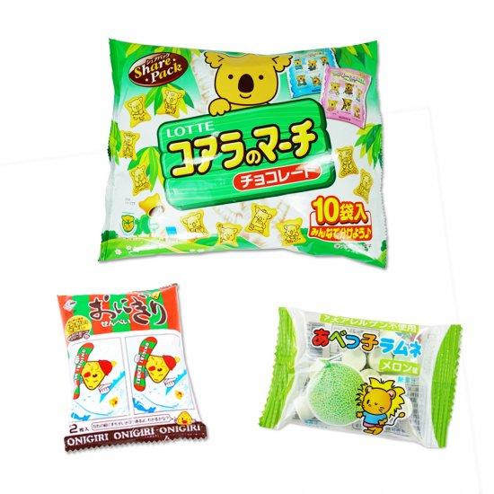 大袋(内1)コアラのマーチ  /  2枚おにぎりせんべい(1個)  /  あべっ子ラムネ(1個) 【学】