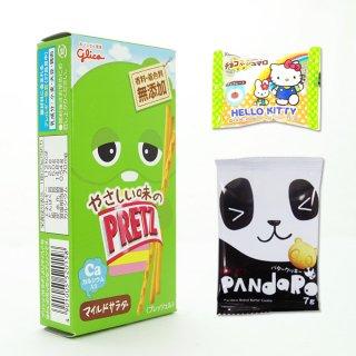 やさしい味のプリッツ(1個)(サラダ)  /  パンダロー(1個)  /  キティのチョコマシュマロ(1個)【学】