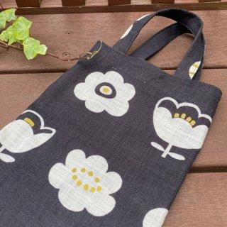 SAKE BAG(黒x白い花)