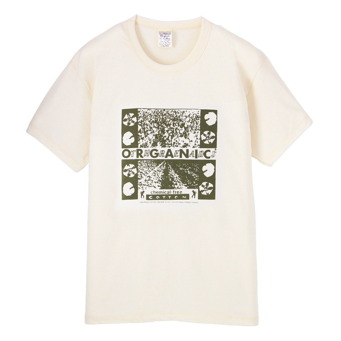 S.O.S. from Texas×ORGANIC THREADS Short Sleeve Crew Tee Green Printed